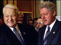 Boris Yeltsin y Bill Clinton