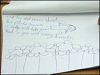 Milly Bell's drawing of an angel and flowers