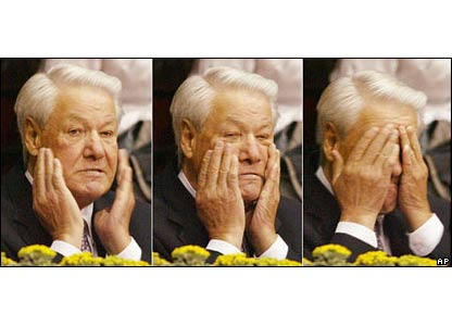 Boris Yeltsin at a Volleyball match 2002