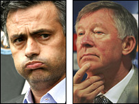 Chelsea boss Jose Mourinho and Sir Alex Ferguson