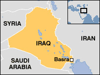 A map of Iraq showing Basra