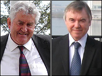 Party leaders Rhodri Morgan (Labour) and Ieuan Wyn Jones (Plaid Cymru)