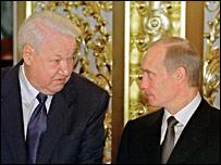 Boris Yeltsin and Vladimir Putin (12 June 2001)