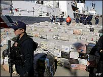 US coast guards watch over a cocaine haul unloaded in California