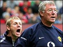 Manchester City boss Stuart Pearce and United boss Sir Alex Ferguson
