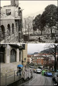 Composite picture of Guernica after the bombing and today