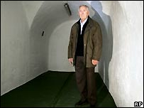 Luis Iriondo in the bomb shelter