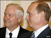 Russian President Vladimir Putin (right) with US Defense Secretary Robert Gates in Moscow
