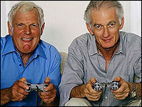 Older men playing computer games