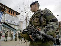 French KFOR peacekeeper in Mitrovica