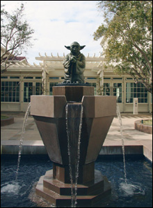 Visitors to the Letterman Digital Arts Center, home of Industrial Light and Magic, are greeted by the Yoda fountain
