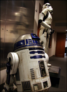 R2D2 stands guard with a stormtrooper