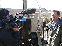 Producer Alex Mackintosh (left) filming Stefan Gates (right)