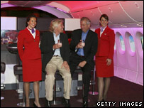 Richard Branson in the new Boeing 787-9