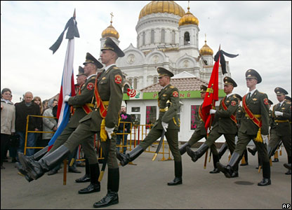 Honour guard outside Christ the Saviour cathedral