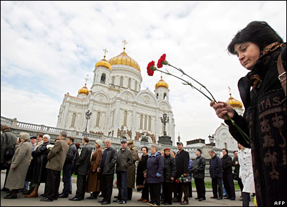 Mourners outside Christ the Saviour cathedral