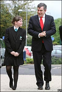 Gordon Brown and a pupil from Chorlton High School