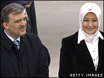 Turkish Foreign Minister Abdullah Gul and wife Hayunisa