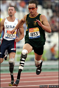 Oscar Pistorius wins the 200m T44 for Men during the Athens 2004 Paralympic Games