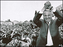 Boris Yeltsin campaigning for election in 1991