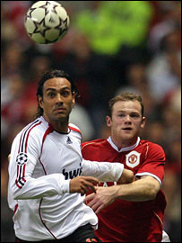 Alessandro Nesta of AC Milan and Man Utd's Wayne Rooney