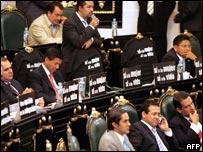 Legisladores del Partido Acción Nacional durante el debate sobre el aborto.