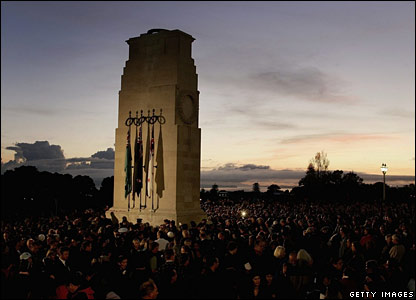People at a dawn service at the Cenotaph in Auckland, New Zealand
