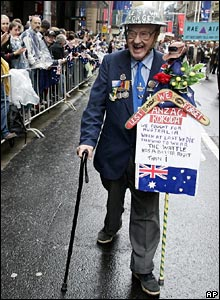 A war veteran marches in parade in Sydney