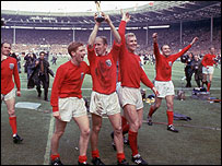 Alan Ball with the World Cup trophy in 1966