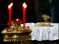 The body of former Russian President Boris Yeltsin lies in state at Christ the Saviour Cathedral in Moscow