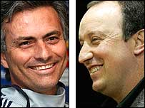 Chelsea boss Jose Mourinho (left) and Liverpool's Rafael Benitez