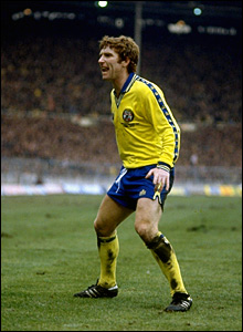 Alan Ball shouts to the fans at Southampton