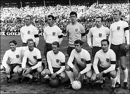 England after a World Cup warm-up game. Back: Ray Wilson, Jimmy Greaves, Peter Bonetti, Nobby Stiles, Bobby Moore. Front: Alan Ball, Jacky Charlton, George Eastham, Geoff Hurst, George Cohen