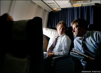 Tony Blair and Alistair Campbell on a flight to New York in 1996