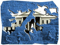 A stylized trace of the Falklands on an Argentine memorial with the White House peering through.