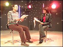 Presenters Mohammed al-Rimawi and Malak al-Khouri