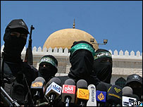 Hamas press conference in Gaza