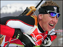 Wolfgang Perner came fourth in the 10km men's biathlon sprint in Turin