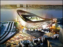 Artist's impression of Portsmouth's new stadium