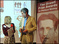 Newsnight's editor Peter Barron collects the Orwell Award