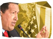 Hugo Chavez and burning American flag