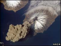 Volcanic eruption pictured from orbit. Image: Nasa