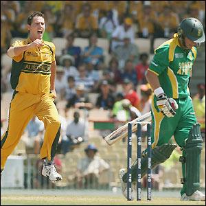 Tait celebrates the dismissal of De Villiers