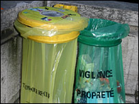 Paris rubbish and recycling bins