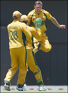 Hogg savours his wicket
