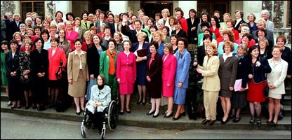 Tony Blair with most of the 101 Labour MPs of 1997