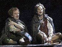 James Loye (right) as Frodo in the Toronto production