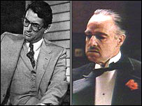 Gregory Peck in To Kill a Mockingbird and Marlon Brando in the Godfather