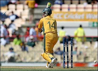 Ponting's bails leave the stumps