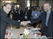 EU foreign policy chief Javier Solana and Iran's chief nuclear envoy Ali Larijani  in Ankara